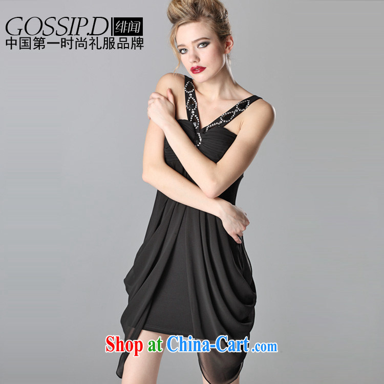 GOSSIP . D heard the noble temperament embedded drill V for evening dress short skirt dress in Europe and the small Evening Dress 1061 black L