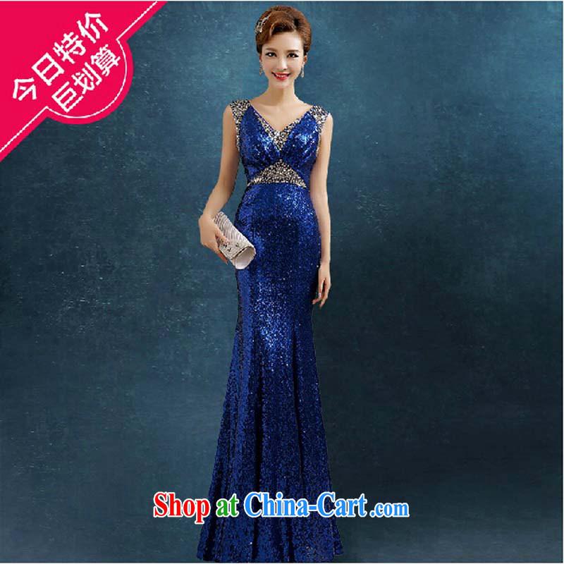 High-end custom, dress, long summer 2015 new banquet evening dress the NPC, dress, blue tailored contact Customer Service