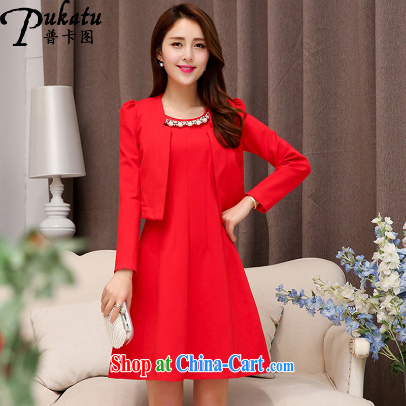 The card the 2015 new banquet toast serving simple beauty dress two-piece dream lady, small dress red 2 XL