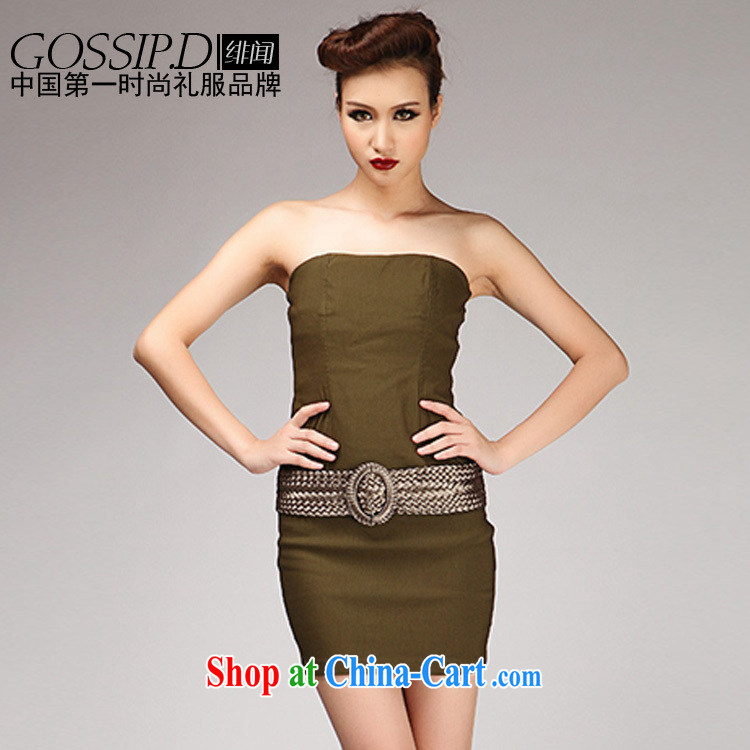 GOSSIP . D flying that evening chest bare minimum dress sexy short evening dress in Europe night dress dress 1445 army green L