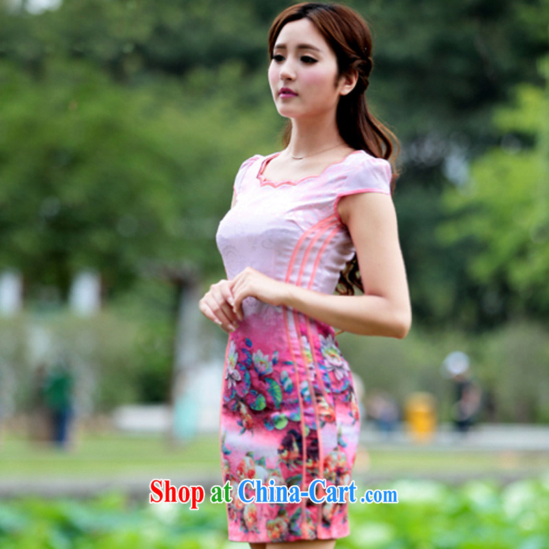 Cheuk-yan Zi spent 2015 new stamp pixel color dresses retro dress everyday Chinese improved stylish summer short cheongsam dress pink XL