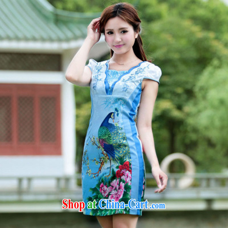 Cheuk-yan Zi spent 2015 female new Peacock dresses retro dress everyday Chinese improved stylish summer short cheongsam dress blue XL