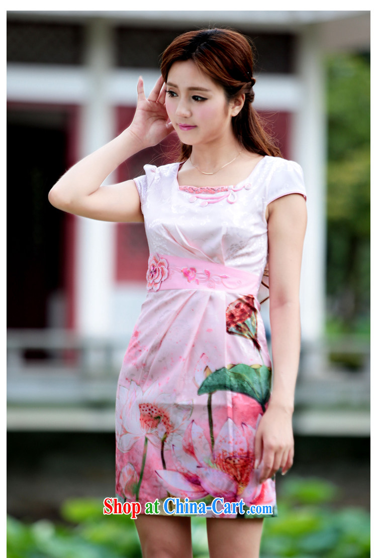 Oh, the 2015 women's clothing dresses retro dress everyday Chinese improved stylish summer short cheongsam dress pink XL pictures, price, brand platters! Elections are good character, the national distribution, so why buy now enjoy more preferential! Health