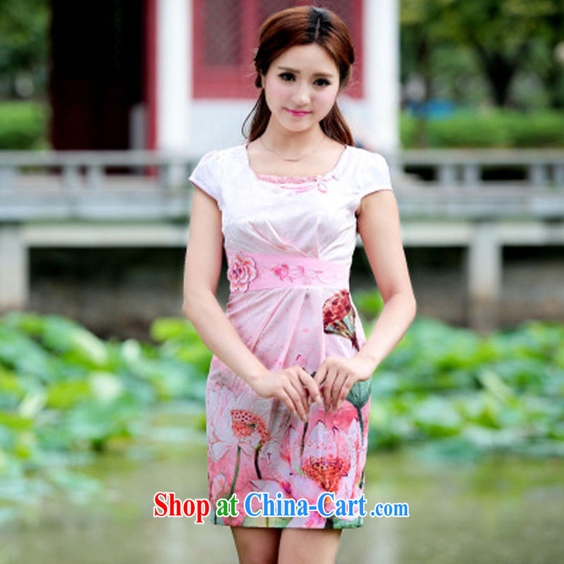 Oh, the 2015 women's clothing dresses retro dress everyday Chinese improved stylish summer short cheongsam dress pink XL