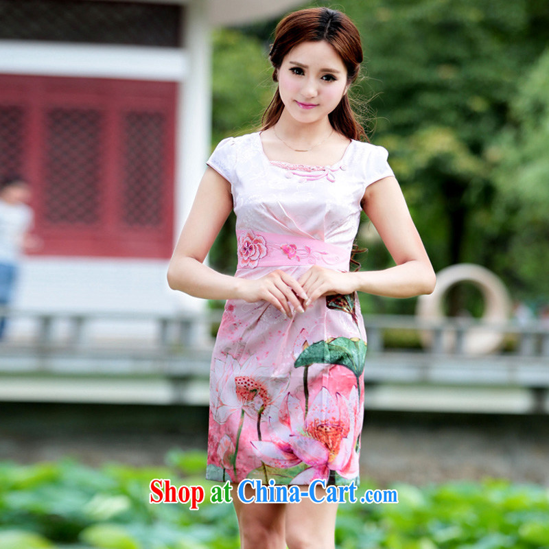 Oh, the 2015 female dresses retro dress everyday Chinese improved stylish summer short cheongsam dress pink XL, oh, blog, online shopping