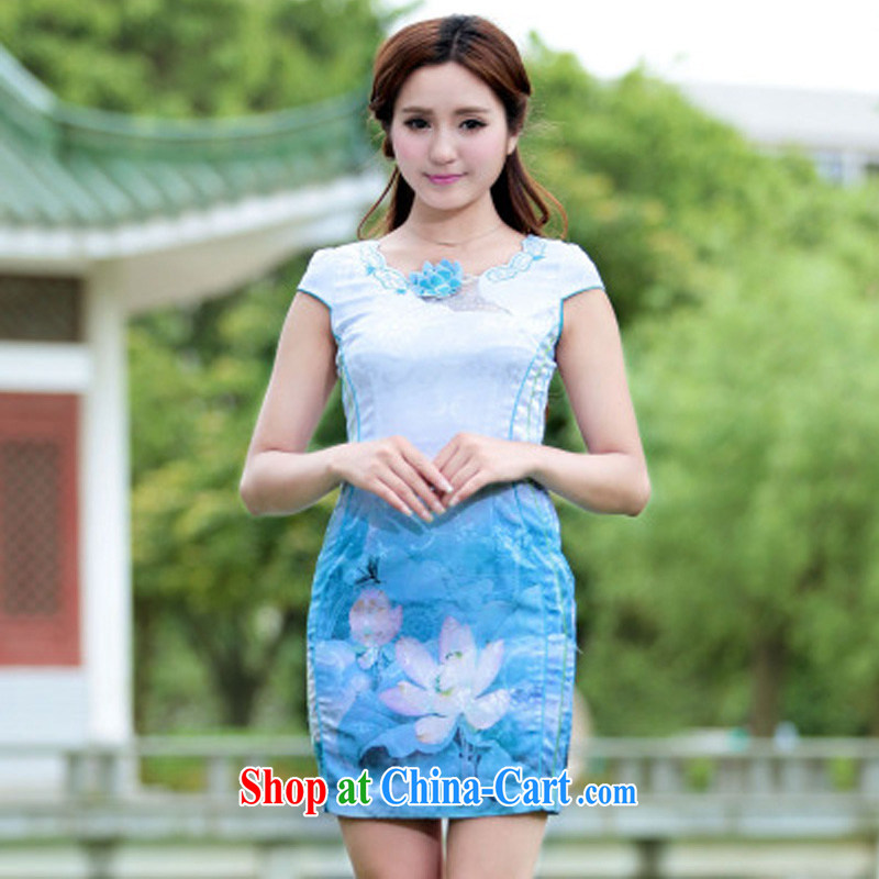 Cheuk-yan Zi spent 2015 stamp Lotus cheongsam dress retro-day Chinese improved stylish summer short cheongsam dress blue XL