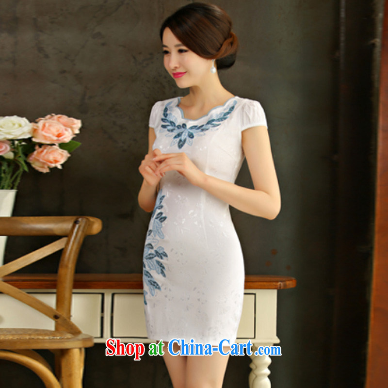 Oh, the 2015 summer improved female cheongsam dress retro beauty everyday dresses short white dresses XXL