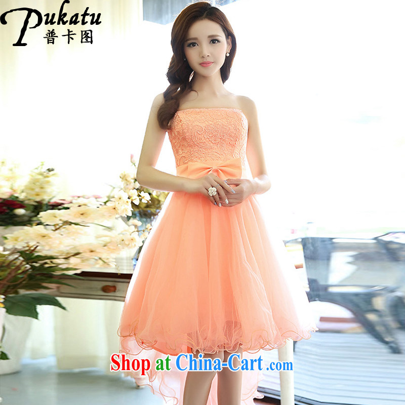 The card 2015 new stylish shaggy wiped his chest dress Korean version of the new subsection, lace wedding dresses pink XL