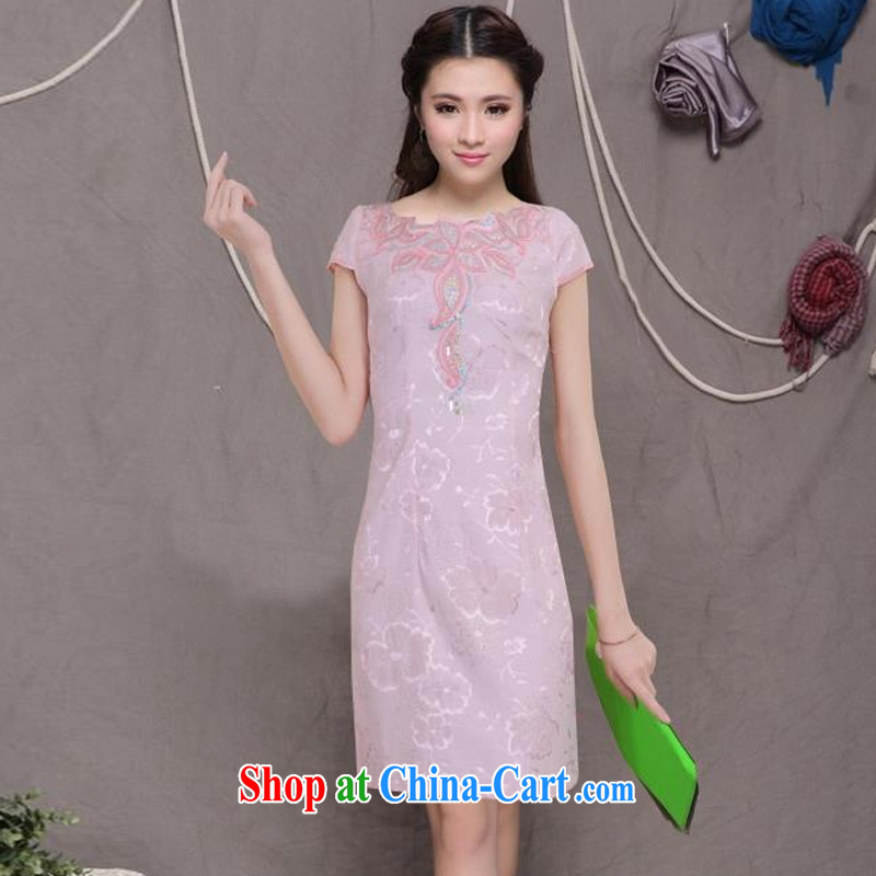 Diane sprawl of 2015 new retro Beauty Fashion improved cheongsam dresses daily dress pink XXL