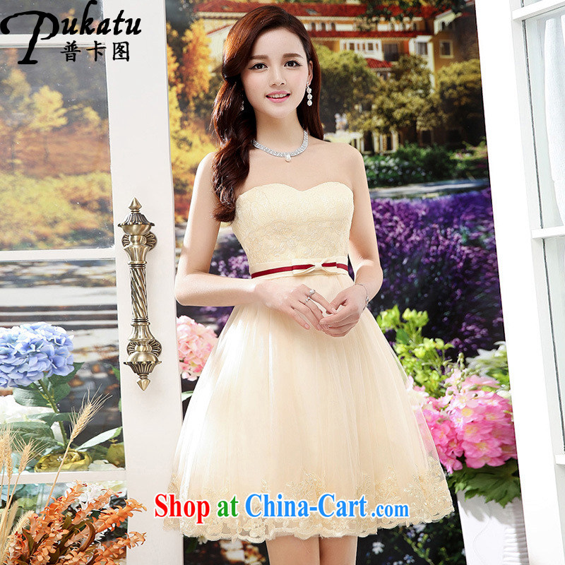 The card the 2015 new, lace dresses, Shaggy dress Lady style evening dress bridal toast serving apricot XL