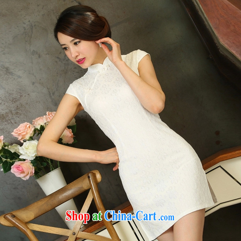 Diane sprawl of 2015 new spring and summer Stylish retro dresses improved daily dress dress white XL