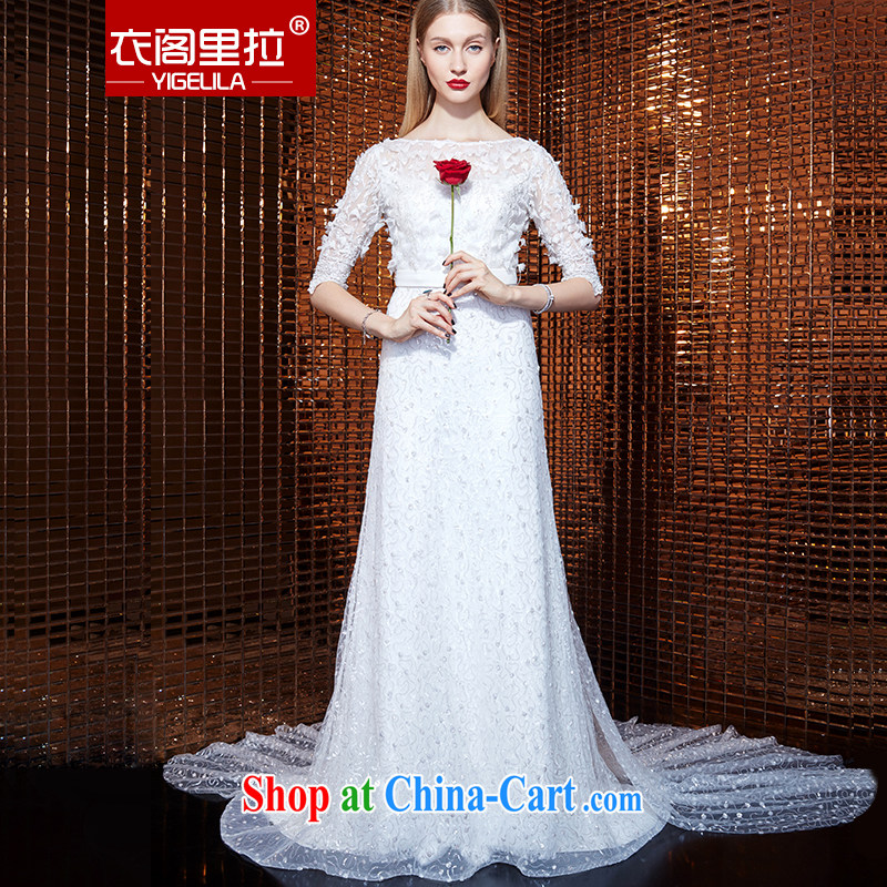 Yi Ge Theo-Ben Gurirab of Yuan temperament and embroidery, cuff round-collar snowflake woven three-dimensional flowers dress dress dress Evening Dress white 61,054 L