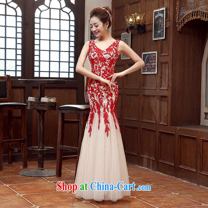 Pure bamboo yarn love 2015 New Red bridal wedding dress long evening dress evening dress uniform toasting Red double-shoulder dresses beauty red advanced customization is not returned.