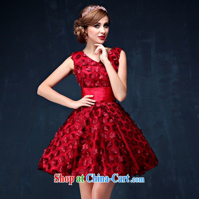 Bridal wine red bows service 2015 summer New Dual shoulder straps banquet dress video skinny dress dress dark red XL _waist 2.3_