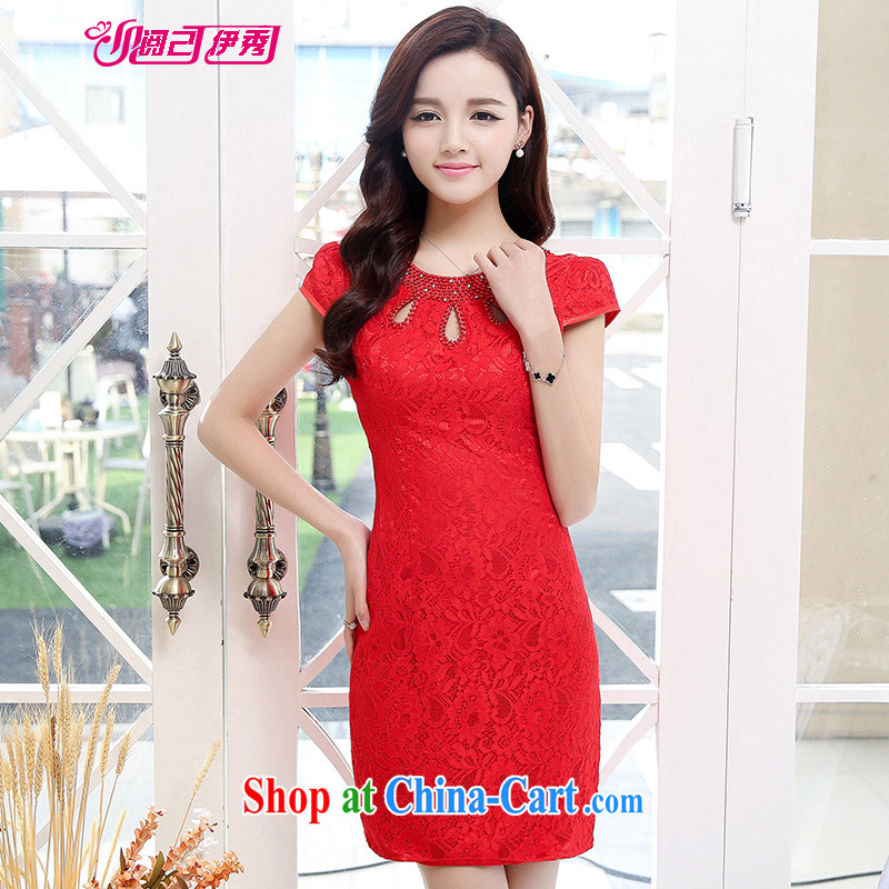 Access to and the Sau 2015 summer New Romantic lace exquisite embroidery fashion cheongsam dress 1539 A red XXL