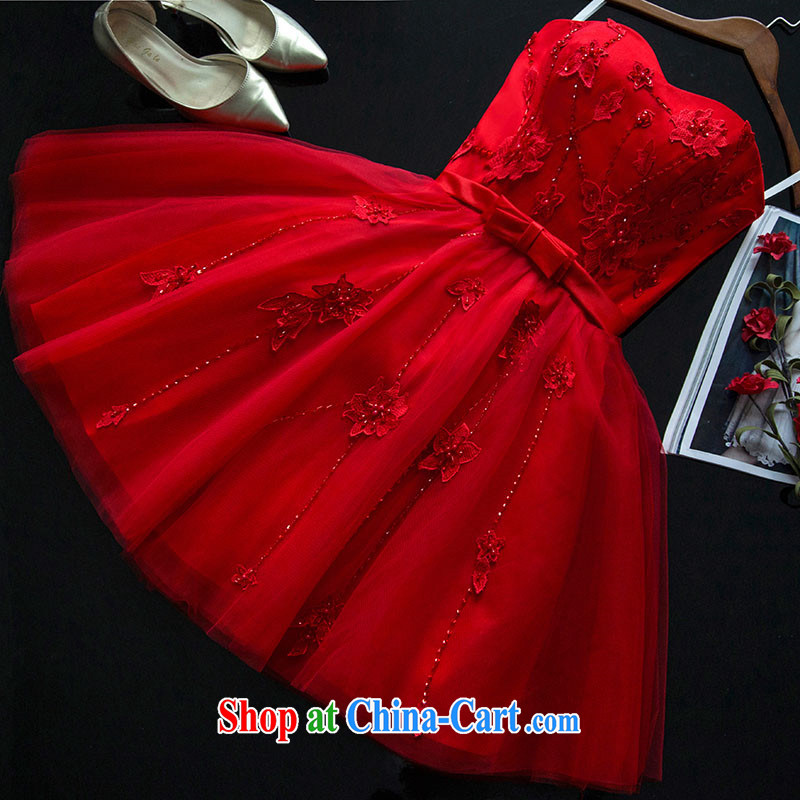 Summer 2015 new bride toast wedding serving short red stylish and wiped his chest strap Evening Dress dresses women's clothing show clothing dress the wedding dress red made 7 Day Shipping does not return does not switch