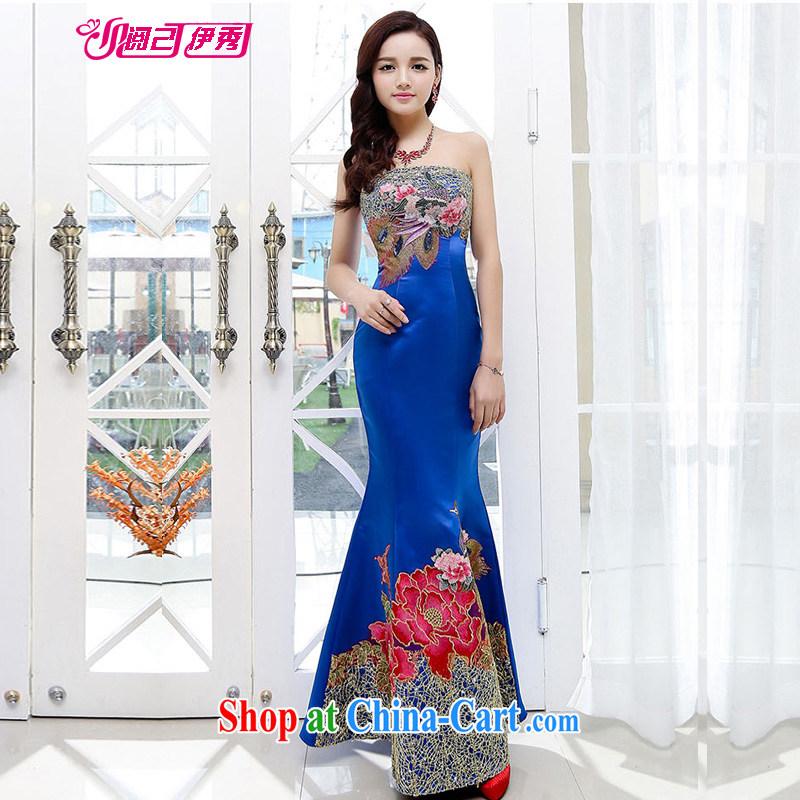 Read and show the new 2015 long crowsfoot Korean V collar red bridal toast dress evening dress spring and summer 1550 dresses A blue XXL