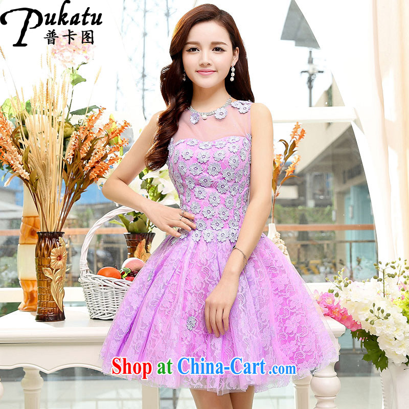 The card 2015 new dream flowers stylish shaggy dress dress with embroidery lace dresses purple XL