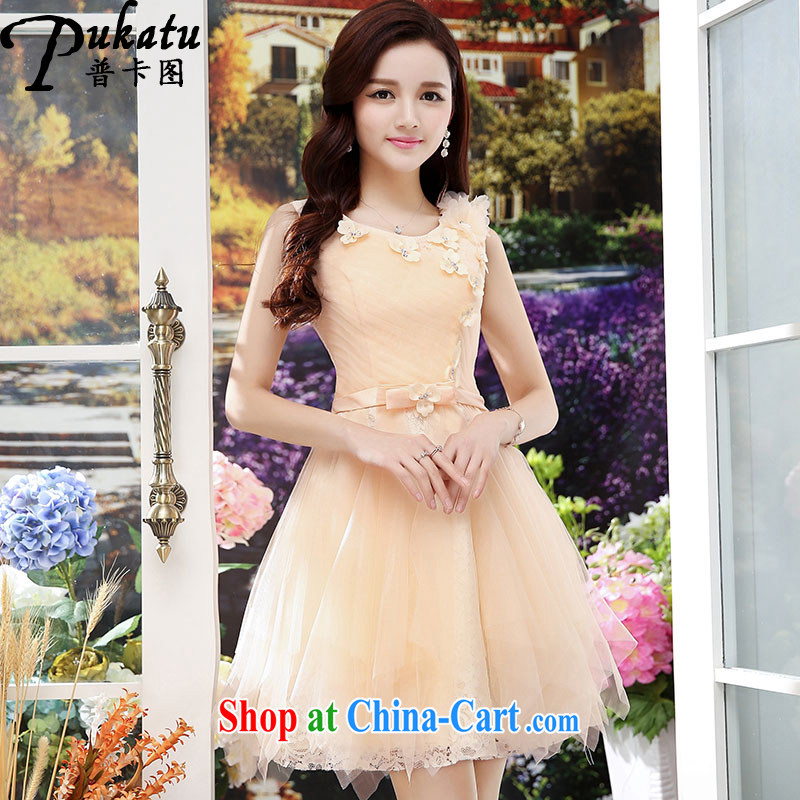 The card the 2015 new dream on-chip 3D floral sleeveless European root dresses ladies stitching yarn. With lace dresses apricot XL