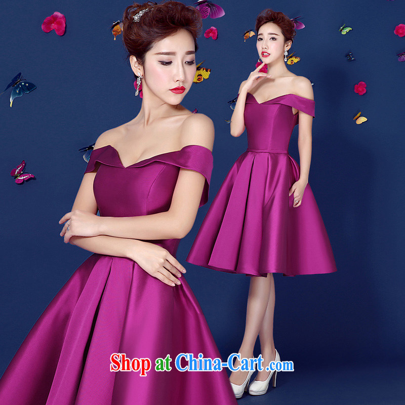 Pure bamboo love yarn exclusive evening dress summer 2015 new Korean lace a shoulder sleeveless bridal bridesmaid toast banquet annual purple tailored contact Customer Service