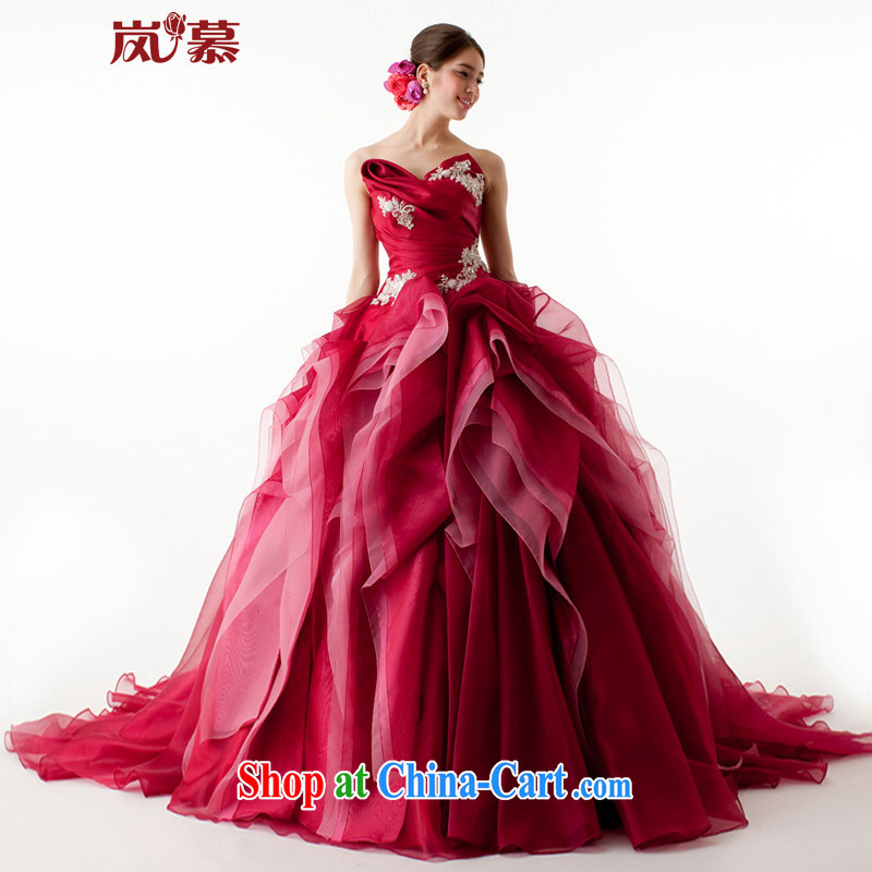 Sponsors The 2015 Original Design wrapped around the chest shaggy dress multi-layer bridal dresses dresses ceremony performances service such as the deep red custom size