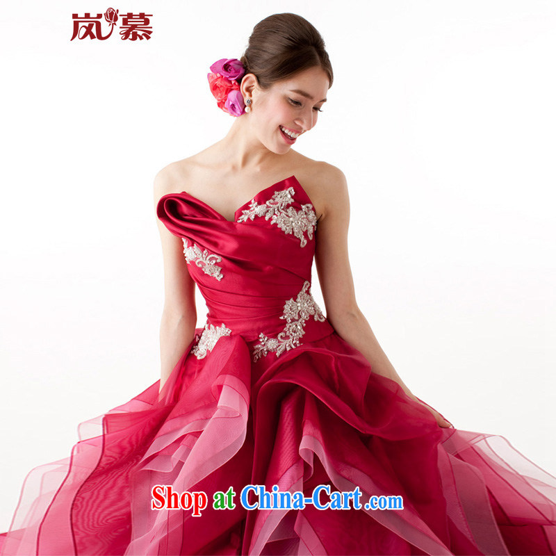 Sponsors The 2015 Original Design wrapped around the chest shaggy dress multi-tier bridal dresses dresses ceremony performances service such as the deep red custom size, sponsors, and shopping on the Internet