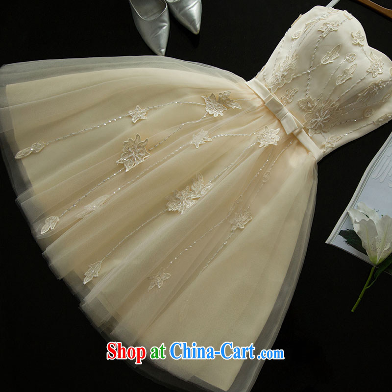 love China, according to bridesmaid clothing style smears chest short bows, serving evening dress champagne color sweet Princess small dress skirt show hosted service serving bridesmaid dress sister dress cute, champagne color will be done 7 Day Shipping