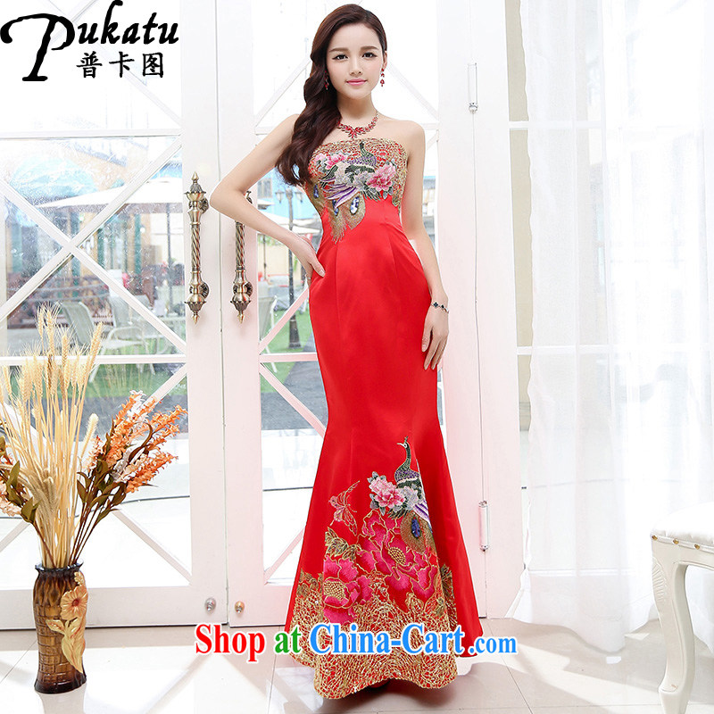 The card the 2015 sexy bare chest China wind beautiful embroidered long dress dress the waist graphics thin dresses red XL