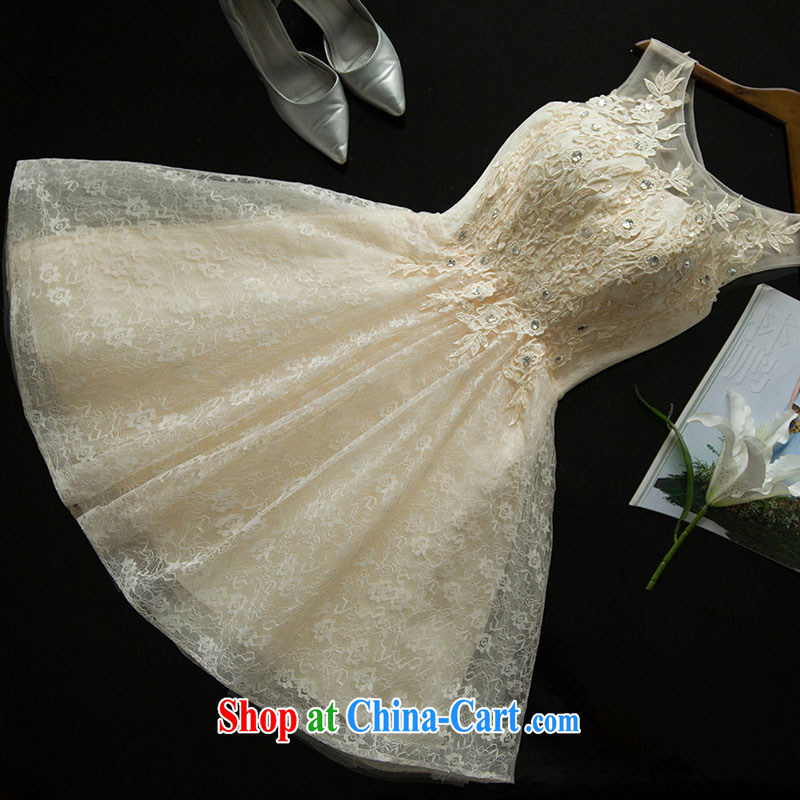 Love, according to China's 2015 summer new, small dress double-shoulder lace bridal toast serving short marriage beauty dress champagne color performance service bridesmaid dress sister with champagne color will do 7 Day Shipping does not return does not