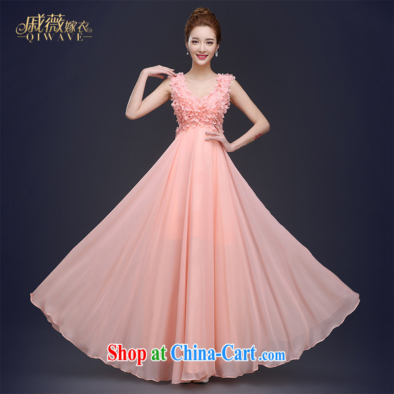 Ms Audrey EU Qi 2015 summer New Products pink bridal dresses skirts long bows, serving double-shoulder strap large, pregnant women with upper body and elegant flower girl dresses rose red XL