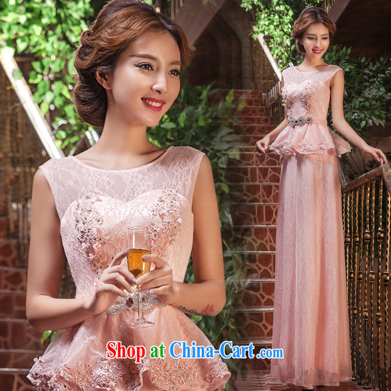 Love, according to China's 2015 new wedding dresses bows Service Bridal Fashion wedding red long dual-shoulder Evening Dress long, wedding services performed under service banquet night meat pink. 7 Day Shipping does not return does not switch