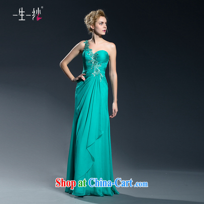 Bridal Fashion banquet single shoulder dress 2015 new toast summer clothing moderator dress long large code dress high waist 402401334 green XXL code 30 days pre-sale