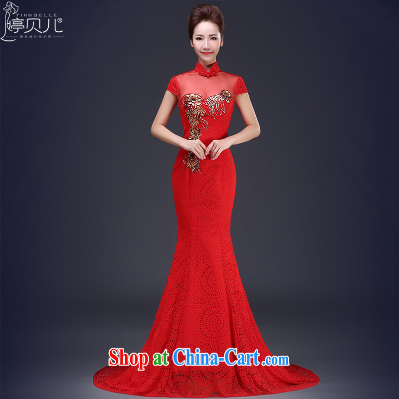 Ting Beverly Evening Dress 2015 new summer marriages crowsfoot bows. Korean-style beauty video slim, dress female Red XL