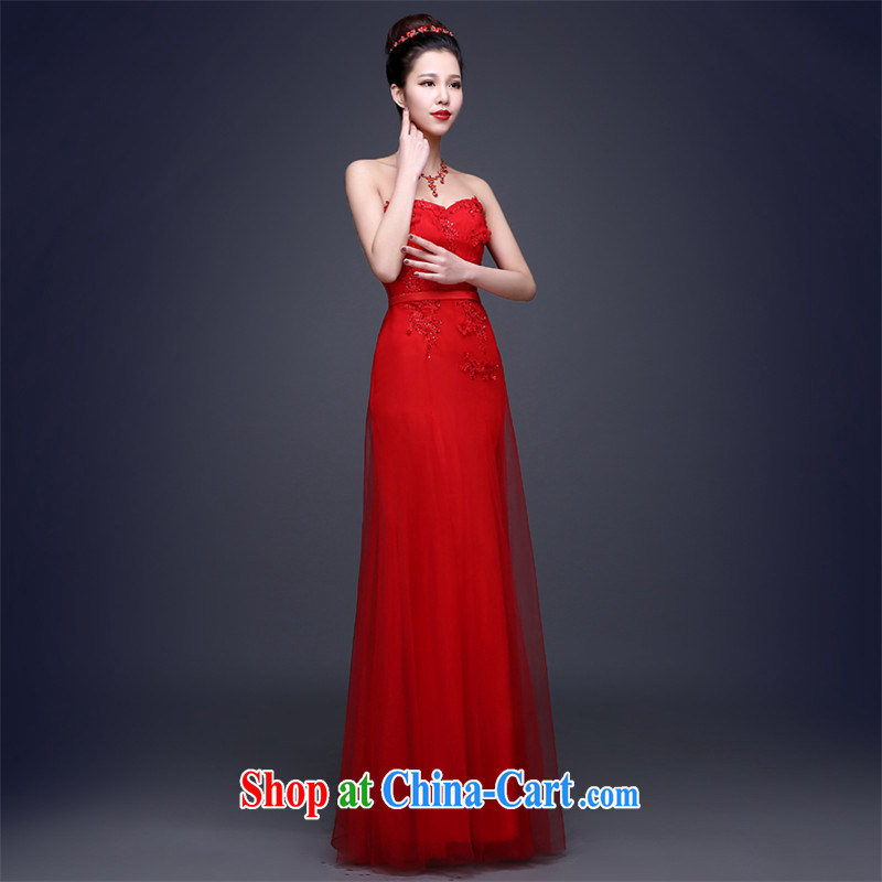 Love, according to China's 2015 spring and summer new stylish and wiped his chest lace beauty bridal wedding toast serving red evening dress long wedding dresses show service banquet service red made 7 Day Shipping does not and will not switch
