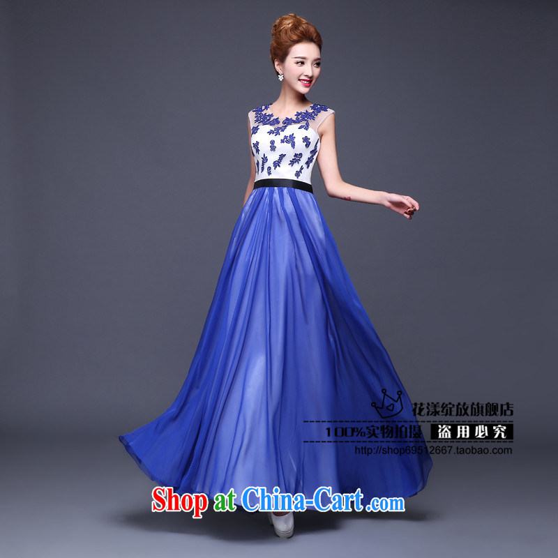 Love, in accordance with China's wedding dress 2015 New Long marriages served toast blue lace the code a field shoulder bridesmaid dress, summer bride toast serving royal blue made 7 Day Shipping does not return does not switch