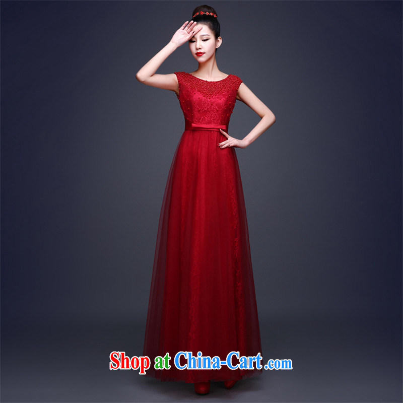 Love, according to China's 2015 new wedding dresses the Field shoulder bridal toast beauty service dress uniforms, long dress leak back style banquet and elegant dress wine red made 7 Day Shipping does not return does not switch