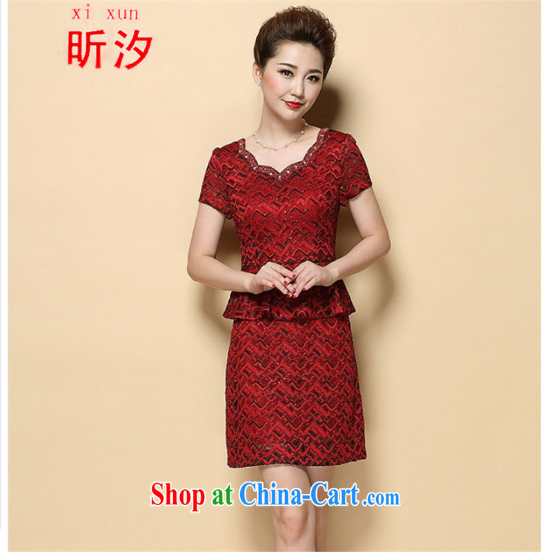 Celia leaves &2015 new summer beauty mother short-sleeved dresses temperament leave two-piece wedding dress #6385 red XL