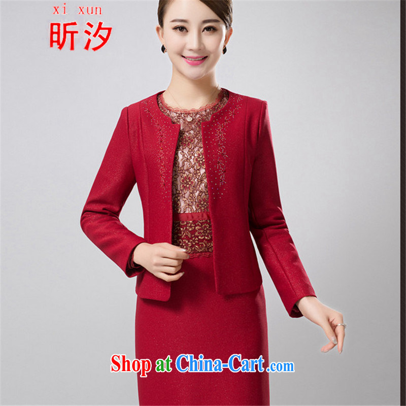 Celia leaves & Wedding Package mother with two-piece 2015 spring middle-aged jacket wedding dresses dress #6387 red 5 XL