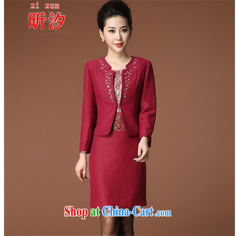 Celia leaves &2015 wedding in the elderly, female mother two-piece with a short-sleeved dresses #6398 red 4 XL
