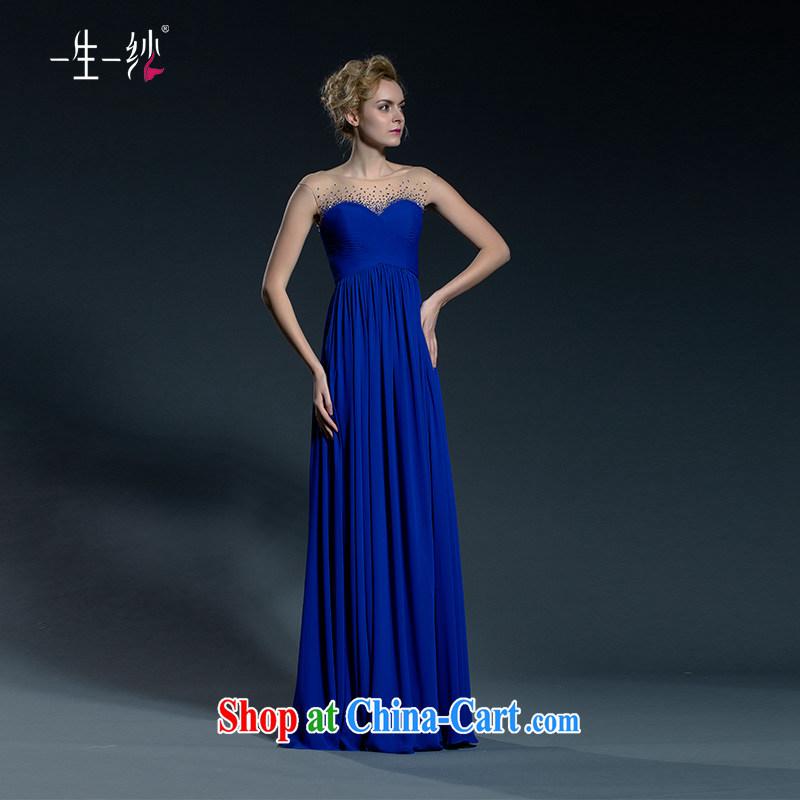 A yarn moderator blue dress girls banquet dress long 2015 new toast serving the Summer code 402401386 blue XXL code 30 days pre-sale