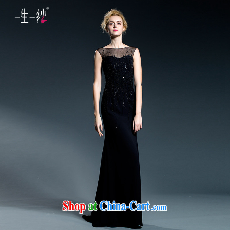 A lifetime and Evening Dress long banquet summer black stylish beauty female reception dress double-shoulder-length, black 402501363 XXL code 30 days pre-sale