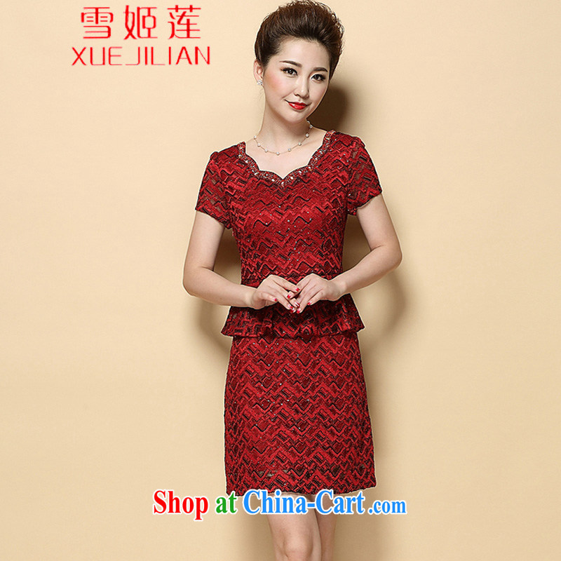 Hsueh-chi Lin's 2015 new summer beauty mother short-sleeved dresses temperament leave two-piece wedding dress #6385 red XL