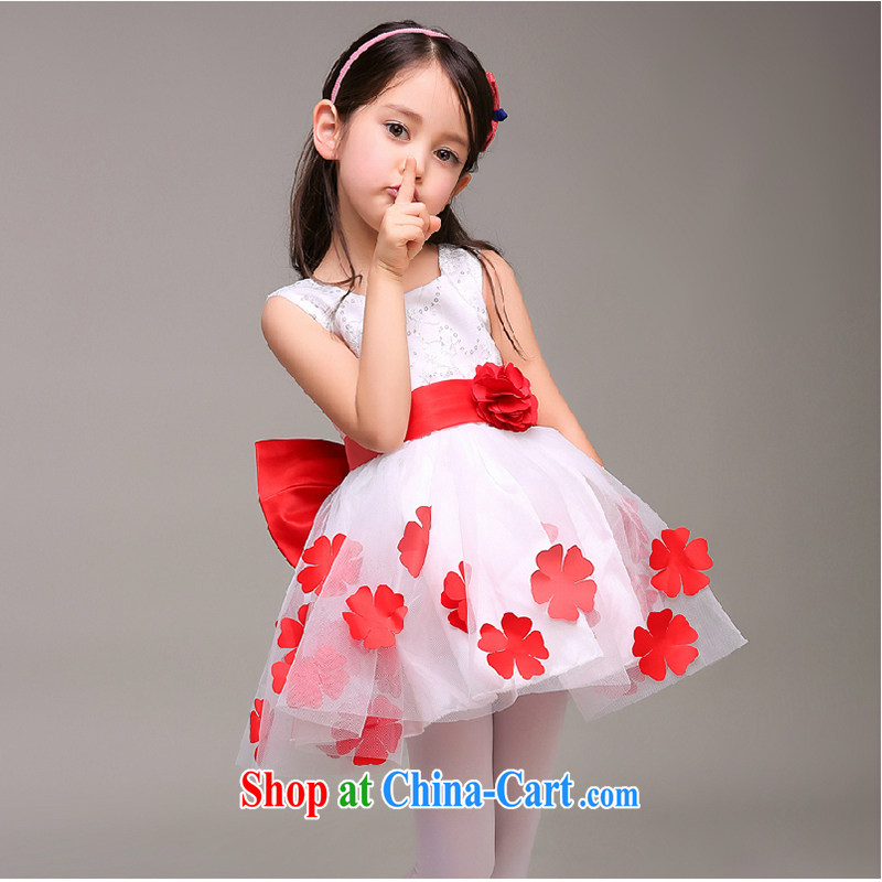 White first to approximately 2015 children dress Princess dress Girls show dress spring and summer flower wedding canopy skirts dance uniforms white flowers 140 CM
