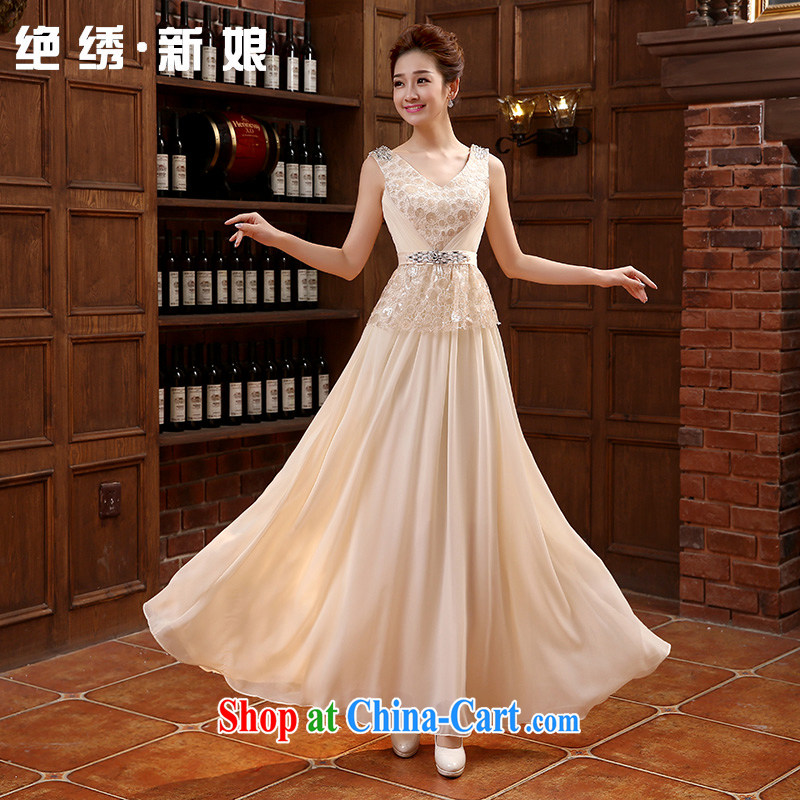 There is embroidery bridal bridal wear long evening dress dress etiquette performances conducted choral Service Bridal toast serving champagne color set is not returned.
