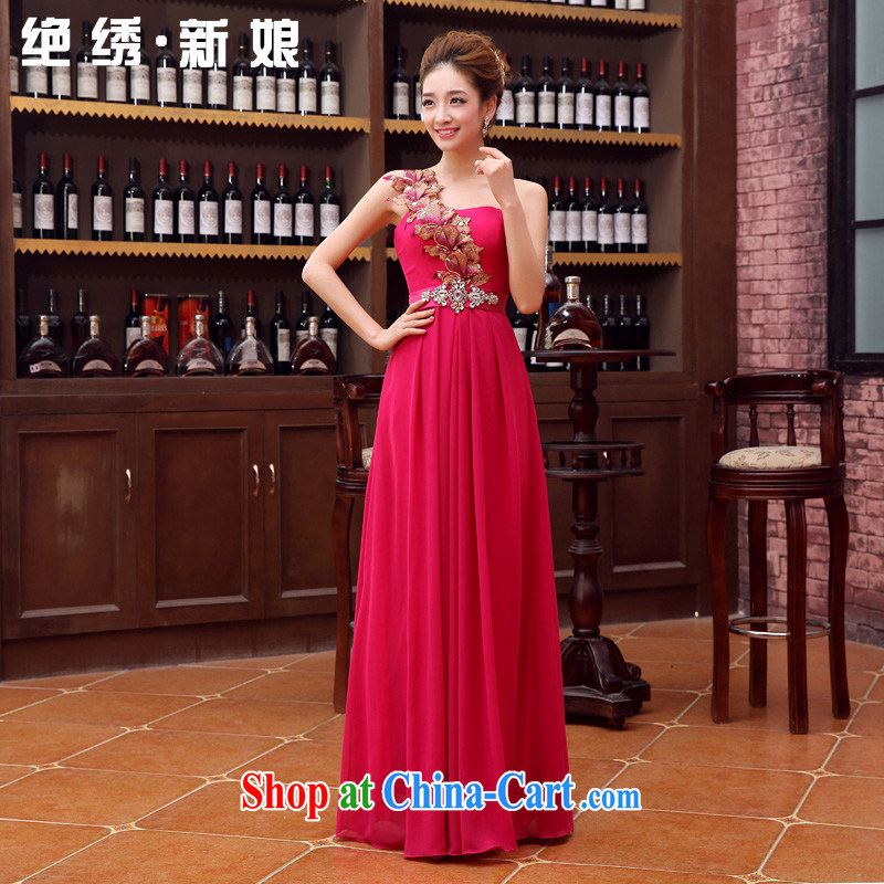 There is a bride's 2015 New Evening Dress long wedding stylish wedding toast Service Bridal bridesmaid single shoulder the shoulder Sau San serving the red made cannot be returned.