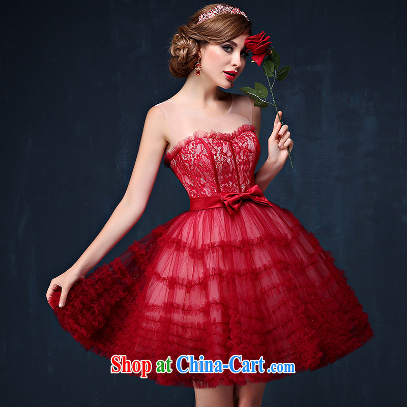 Summer 2015 new Korean shoulders graphics thin bridal red bows service short strap banquet dress dark red XL (waist 2.3)