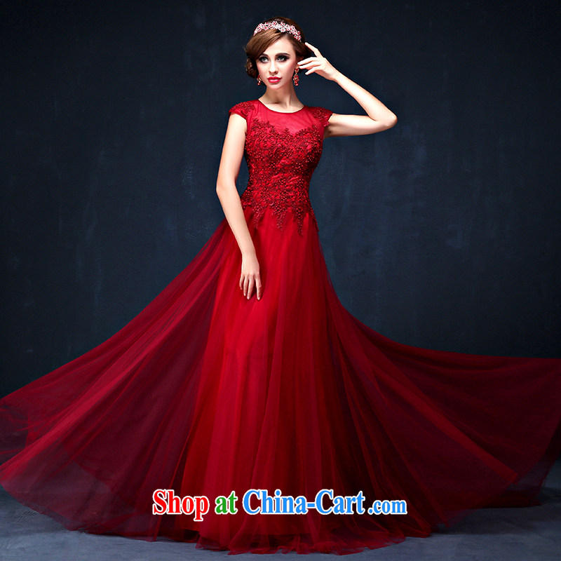 Bridal toast service summer 2015 new Korean shoulders wine red video thin banquet long marriage dress dark red XL (waist 2.3)