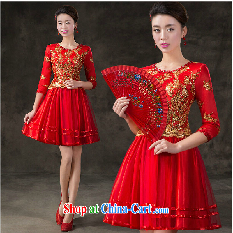Evening Dress 2015 new summer short banquet dress dress girl bride toast wedding clothes stylish field shoulder red XXXL
