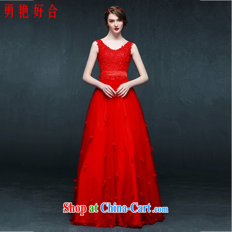 Yong-yan and 2015 bridal gown wedding toast clothing 豆沙 color lace long V collar strap dress dresses Red. size color will not be returned.