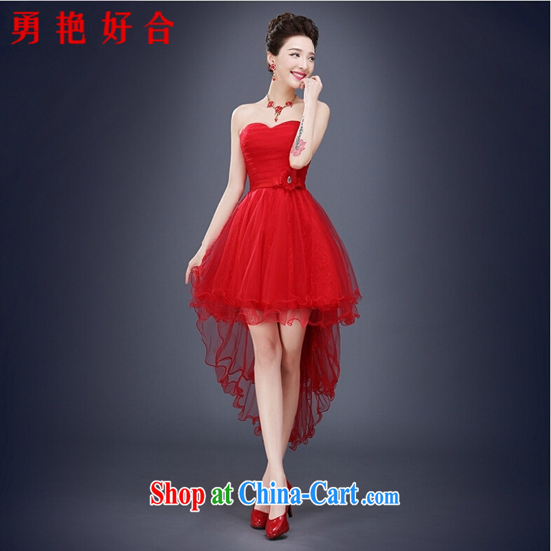 Yong-yan and 2015 new bride toast summer uniforms erase chest short dresses short before long banquet small dress Red Red. size color will not be returned.